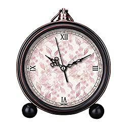 Girlsight Art Retro Living Room Decorative Non-ticking, Easy to Read, Quartz, Analog Large Numerals Bedside Table Desk Alarm Clock-B4032.Background, Pink, Floral, Scrapbooking, Flowers