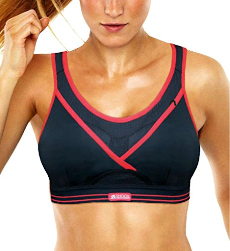Shock Absorber Women's Ultimate Gym Sports Bra, Black/Red, 30DD UK