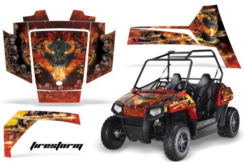 AMRRACING Polaris RZR 170 Youth All Years Full Custom UTV Graphics Decal Kit - Firestorm Red (170 Polaris Graphic Kits)