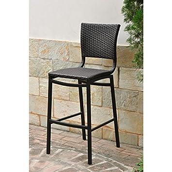 Barcelona Resin Wicker Bar Bistro Chairs   Set Of 2