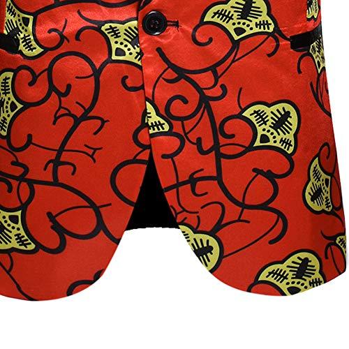 Manteau Imprimé Slim Blazer Fête Floral Veste Casual Hommes Bouton Rouge Un Costume fxnBUB