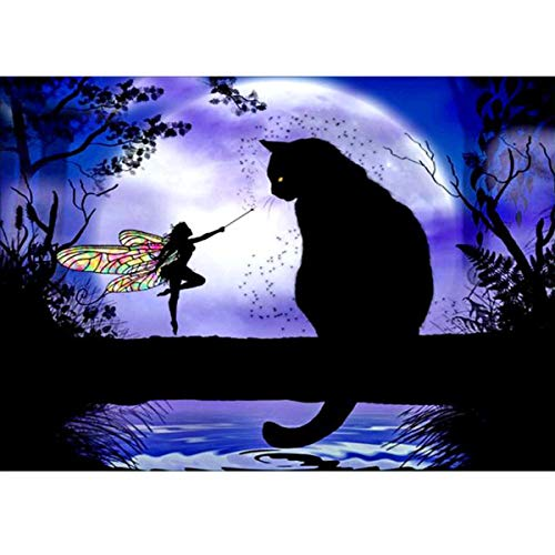 MXJSUA 5D Diamond Painting Full Round Drill Kits for Adults Pasted Embroidery Cross Stitch Arts Craft for Home Wall Decor Elf and Black Cat 12x16in (Cross Cat Stitch Black)