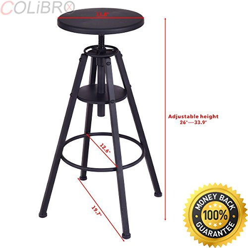 COLIBROX Set of 2 Vintage Bar Stools Height Adjustable Metal Design Pub Chairs Black New.industrial stools cheap metal vintage bar stools.best amazon vintage bar stools.antique bar stools for sale. (Chair Sale Bar For)