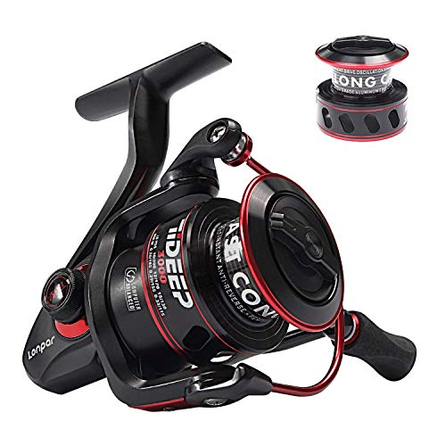 (LONPAR Tideep Spinning Fishing Reel 8+1 BB Lightweight Up to 42 Lbs/19 Kg Powerful Drag Two Spools Included Saltwater or Freshwater)