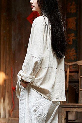 Longues des Manteaux Lgers De Manches Chemises De Vintage Pas Lin Iwtxq7XO1B