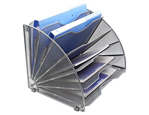 File Sorter Wood Buckle Design Desktop Fan-Shaped Mail Letter Document Magazine File Assembly Divider DIY Office Tabletop Storage Box File Folder Holder Wood Organizer 5 Compartment Brown