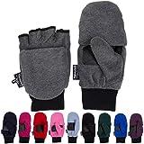 Thinsulate 3M Fleece Pop Top Convertible Fingerless Gloves Mittens Women Kids