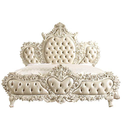 Major-Q Luxurious Traditional Style Vintage Victorian European Royalty Bedroom Pearl PU White Poly Resin Finish California King Size Bed with Lavish Floral Decor, HD-8030CKB
