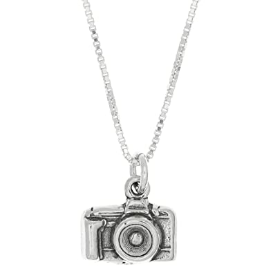 Amazon sterling silver oxidized 3d point and shoot camera charm amazon sterling silver oxidized 3d point and shoot camera charm pendant with polished box chain necklace 16 inches jewelry mozeypictures Image collections