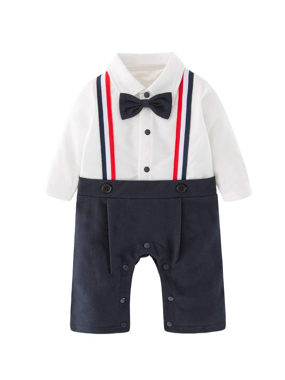 XM Nyan May's Baby Boys Gentleman Bowtie Faux Suspenders Romper Onesie