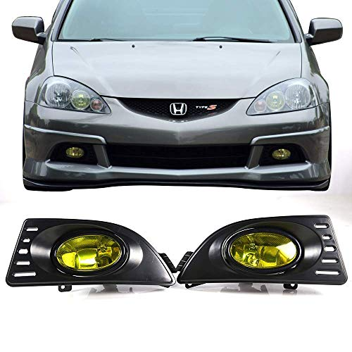 Fog Lights Fits 2005-2007 Acura RSX | Front Bumper Yellow Fog Lamps Left Right by IKON MOTORSPORTS