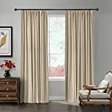 TWOPAGES 52 W x 84 L pinch pleated curtains Room Darkening Velvet Curtain with Blackout Lining for Traverse Rod Or Track, Living Room Bedroom Meetingroom Club Theater Patio Door (1 Panel), Cashmere Review