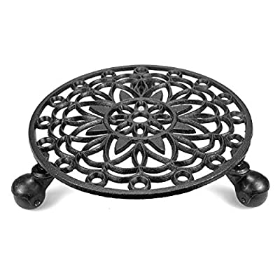 Fasmov Cast Iron Plant Stand Plant Pallet Caddy Plant Pot with Heavy Duty Wheels Indoor Outdoor Planter Trolley Casters Rolling Tray Coaster : Garden & Outdoor