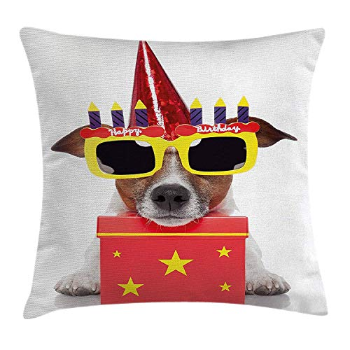 JTNF Birthday Decorations for Kids Throw Pillow Cushion Cover, Party Dog with Sunglasses and Cone Hat Boxes Stars Image, Modern Pillow Case Cover, 18