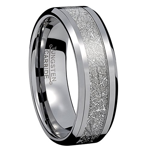 8mm Men Silver Tungsten Carbide Engagement Ring Imitated Meteorite Wedding Band High Polished Comfort Fit Size 11