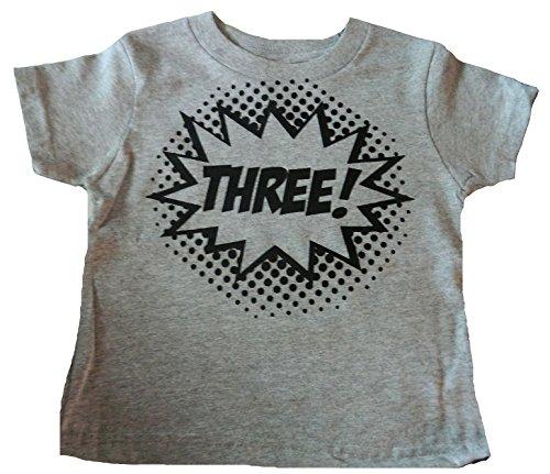 Custom Kingdom Baby Boys'Three Superhero Third Birthday T-Shirt (3T, Gray)