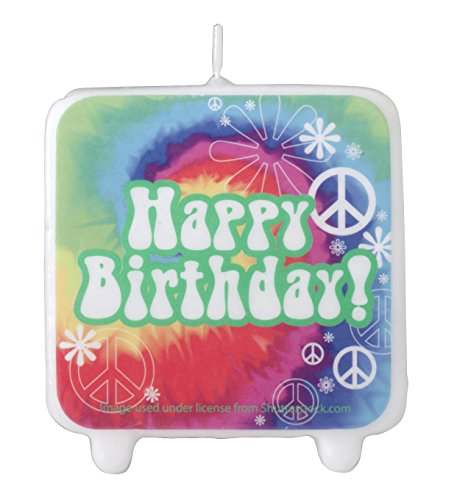 Creative Converting Printed Tie Dye Fun Birthday Cake Candle, Multicolor ()