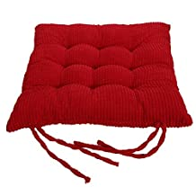 Corduroy Chair Pad - TKOOOFN Expandable Polyethylene (EPE) Stuffed Seat Cushion [35*35*5cm] Square Chair Cushion for Home Furniture & Decor (Red)