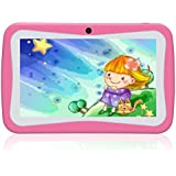 Kivors 7 inch Kids Tablets, 7 Display, Quad Core Android, 8 GB WiFi Camera Games, HD Kids Edition, Kid-Proof Case (Pink)