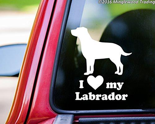 Labrador Sticker Chocolate (Minglewood Trading I Love My Labrador vinyl decal sticker 6