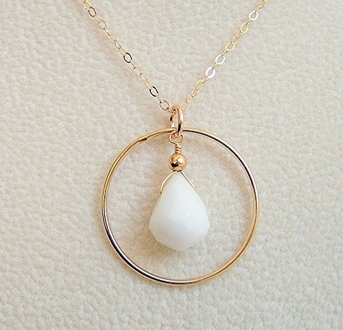 White Teardrop Briolette Quartz Circle Hoop Framed Pendant 18 Inch Gold Filled Necklace Gift Idea