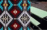 Custom Stay Put Water Resistant Duck Cloth in Southwest Aztec Print 6 Ft Picnic or Camping Bench 3 Piece, Table and 2 bench set. No more hot or dirty seats