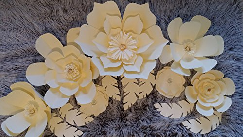 Paper Flowers Combo Set for Backdrops - Pure Ivory - Includes 7 Paper Flowers and 3 Pairs of Paper Leaves - Fully Assembled - Ready to Use