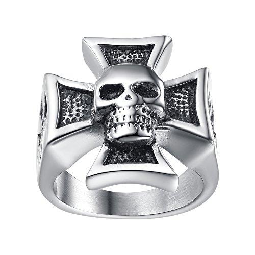LineAve Men's Stainless Steel Skull Cross Ring, Size 7, 8a5036s07