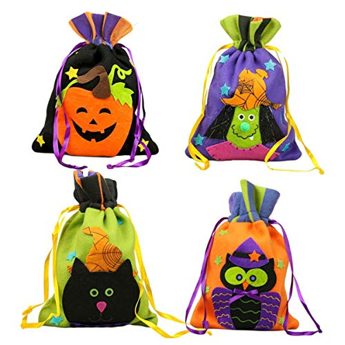 Adromy Halloween Trick or Treat Candy Bags, Cute Witches Goody Bags Halloween Party Drawstring Storage Gift Tote Bag for Children (4 Pack) -
