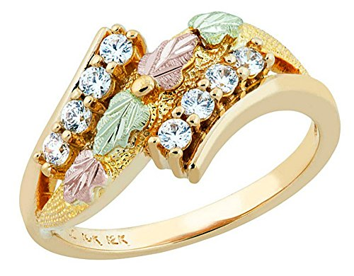 Round CZ Bypass Ring, 10k Yellow Gold, 12k Green and Rose Gold Black Hills Gold Motif, Size 7.25 by Black Hills Gold Jewelry