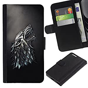 Billetera de Cuero Caso Titular de la tarjeta Carcasa Funda para Apple Iphone 6 PLUS 5.5 / Metal Wolf / STRONG