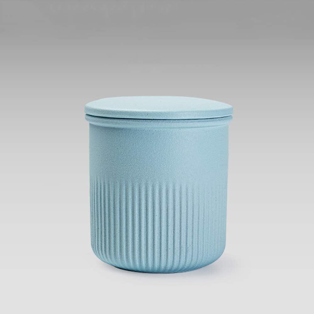 Airtight Food Dry Storage Container Loose Leaf Tea Tin Ceramic Tea Canister Sugar Coffee Granular And Powder Products Box,Light blue