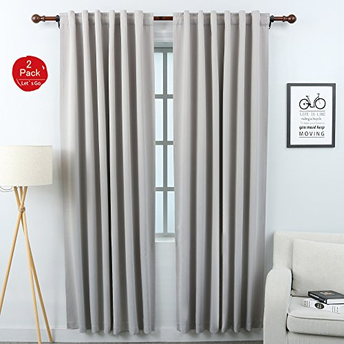 KEQIAOSUOCAI Blackout Curtain Panels Back Tab and Rod Pocket Thermal Insulated Drapes Room Darkening Window Draperies with Tiebacks,52x84 inches,Light Gray Thermal Back Drapes
