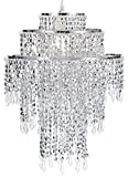 "Waneway Large 3 Tiers Chrome Sparkling Beads Pendant Shade, Ceiling Chandelier Lampshade with Acrylic Jewel Droplets, Beaded Lampshade with Chrome Frame and Sparkling Beads, Diameter 12.6"", Chrome For Sale"