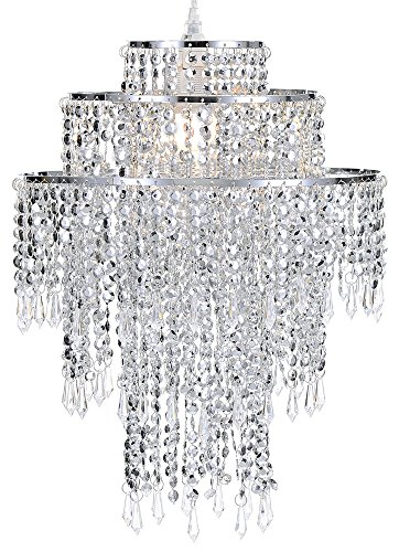 Waneway Large 3 Tiers Chrome Sparkling Beads Pendant Shade, Ceiling Chandelier Lampshade with Acrylic Jewel Droplets, Beaded Lampshade with Chrome Frame and Sparkling Beads, Diameter 12.6'', Chrome