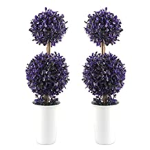 VIMI Small Artificial Plants and Mini Trees , Decor Bonsai for Home , Indoor and Outdoor Decorations , Purple Balls , 15 inch , Set of 2