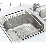 """Adjustable Dish Drying Rack Over Sink, SZUAH 18/8 Stainless Steel Dish Drainer, Deep Dish Rack for Counter top & Sink, 13""""L x 9.8"""" W x 4.7""""H(unextended Size)"""