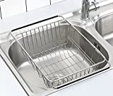 Adjustable Dish Drying Rack Over Sink, SZUAH 18/8 Stainless Steel Dish Drainer, Large & Deep Dish Rack for Counter top & Sink, 13'L x 9.8' W x 4.7'H(unextended size)