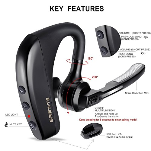 0b5e66936b9 Bluetooth Headset, 10Hrs Talk Time V4.1 Hands Free Car Bluetooth Headphones  Noise Reduction