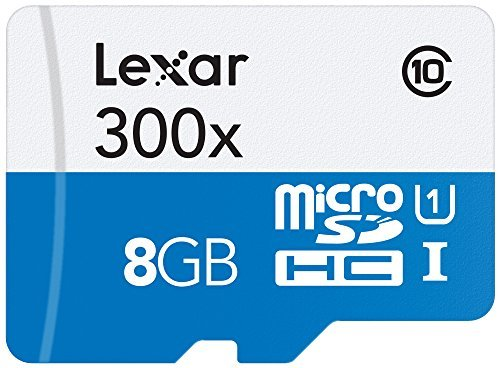 Lexar High-Performance microSDHC 300x 8GB UHS-I/U1 w/Adapter Flash Memory Card - LSDMI8GBBBNL300A 1 Premium Memory solution for tablets, sports camcorders, and smartphones Quickly captures, plays back, and transfers media files, including 1080P full-HD, 3D, and 4K video Leverages UHS-I technology for a transfer speed up to 300x (45MB/s) read and (10 MB/s) write
