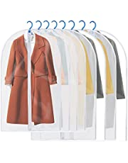 Housses de Vêtements, GEEDIAR Lot de 6 / 8 Couverture Lavable Transparent Etanche Anti-Poussière Protection Pour Chemise Costume Sac de Vêtement avec Zip (8pcs(100/120)cm)