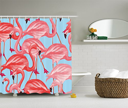 Ambesonne Flamingo Decor Collection, Tropical Birds Pattern with Flamingos Colorful Exotic Animal Nature Artwork , Polyester Fabric Bathroom Shower Curtain, 75 Inches Long, Coral Salmon ()