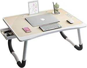 Study Table, Injection Molding Small Table, Foldable Table for Laptop Desk, Bed, Desk with Reading Rack, Study Table 40cm60cm28cm 921 (Color : White)