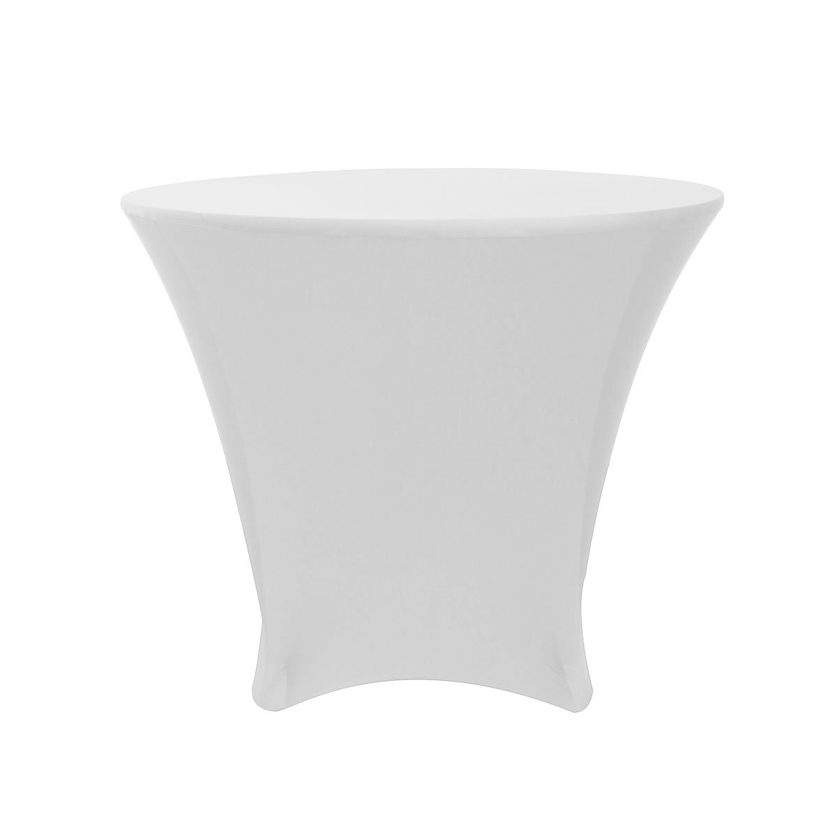 Your Chair Covers - 36 x 30 inch Lowboy Cocktail Round Stretch Spandex Table Cover White