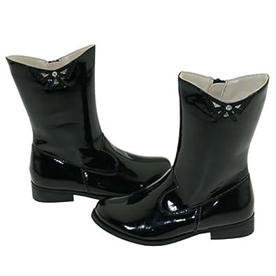 Amazon.com | Girls Black Patent Cutout Bow Fashion Boots Toddler ...