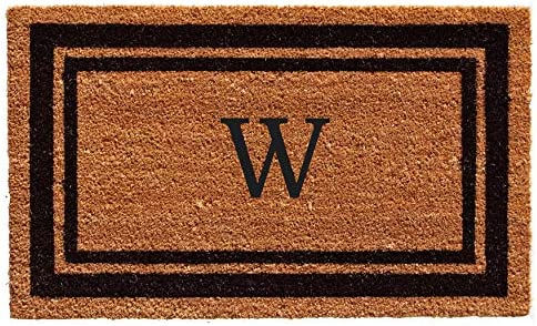 Calloway Mills 152962436W Black Border 24 x 36 Monogram Doormat, Letter W