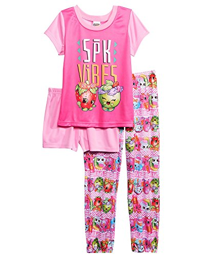 (Shopkins Big Girls' Collection 3-Piece Pajama Set, Pink Vibes, 8)
