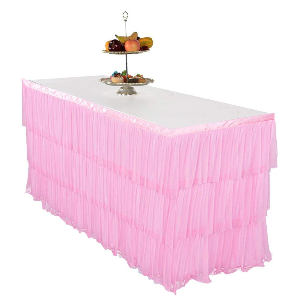 6Ft 9Ft Tutu Tulle Table Skirt Table Cover Cloth Skirting for Wedding Party Birthday Party Activities Decoration Lamptti Tutu Table Skirt