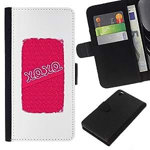 Abrazos Besos de amor de San Valentín blanca- la tarjeta de Crédito Slots PU Funda de cuero Monedero caso cubierta de piel Para HTC DESIRE 816