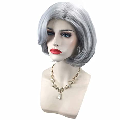NiceLisa - Peluca de disfraz de mujer vieja, color gris